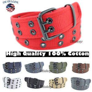 New 100% Cotton Canvas Double Grommet Hole Buckle Belt Men Women Causal Jeans