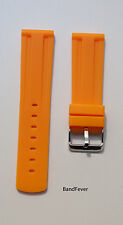22mm HQ Rubber Diver Strap Watch Band Maratac Orange Planet Ocean PO 22