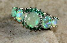 SILVER Elegant Green Fire Opal & Green Peridot Ring Size 9, WR41605