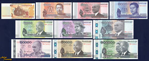 CAMBODIA SET OF 10 BANKNOTE CURRENT 50 TO 100000 RIELS CRISP UNC COMPLETE UPDATE