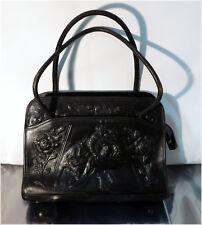 Vintage Mont-Abur 1960s Hand Tooled Mexico Black Leather Handbag