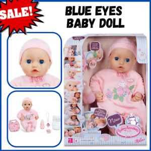 Baby Doll Blue Eyes Soft Bodied Baby Annabell Cries Wets Potty Realistic Sounds