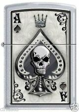 Ace of Spade Death Skull Satin Chrome Zippo Lighter
