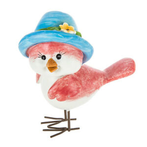 Bird Figurine with Blue OR Green Hat. CUTE HOME ACCENT
