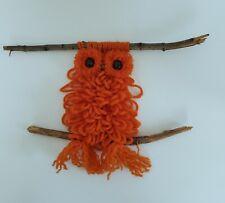 Vintage 70's Orange Macrame Owl Rustic. Home, Cabin Decor. Wood Bead Eyes & Nose