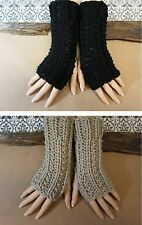 Fingerless Gloves, Arm Warmers, Womens Chunky Knitted Gloves, Winter Wool Brown