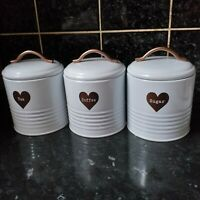 white Enamel tea sugar coffee copper heart jars vintage retro canister set of 3
