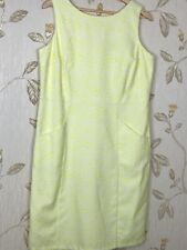 Ladies Klass Dress Size 14 Shift Lemon White Pockets  Floral Embroidery Design