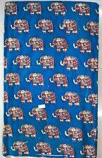 Cotton kalamkari block print fabric - 100 cms length by 43 inches Blue base ele