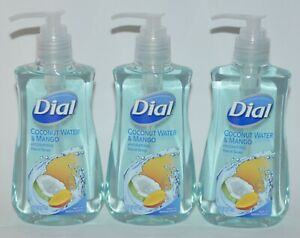 LOT OF 3 DIAL COCONUT WATER MANGO HYDRATING LIQUID HAND SOAP WASH 7.5OZ PUMP