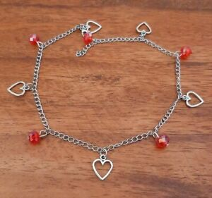 Long Adjustable Chain Anklet - Hearts Charms + Red Glass Crystal Beads - Love