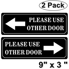 """(2 Pack) 9"""" X 3"""" PLEASE USE OTHER DOOR Sign Back Self Adhesive Vinyl Sticker"""