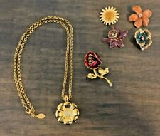 Joan Rivers Vintage Golden Dahlia Pendant Necklace and Changeable Flower Pin Set