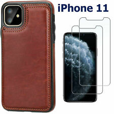 iPhone 11 Case Leather Magnetic Wallet Kickstand with Screen Protector for Apple