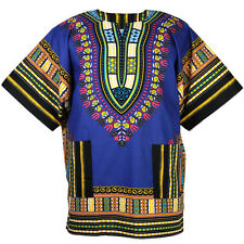 Cotton African Dashiki Poncho Hippie Tribal Boho Shirt Blouse Blue ad073s bid
