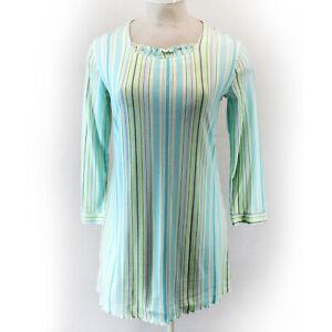 White Orchid Button Green/Blue Striped Ruffle Neck Nightie Sleep Shirt XL