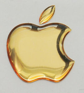 1 stck. Apple Logo 3D gewölbte Aufkleber für iPad. Gold. 50x43mm