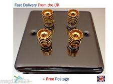 Speaker Wall Plate Dual / Bi Wire 4 Gold Terminal Binding Posts - Black Nickel