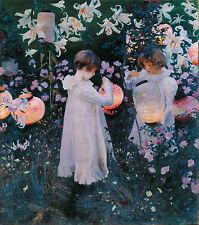 "John Singer Sargent, 1885 ART, Carnation, Lily, Rose, children, 20""x16"" CANVAS"