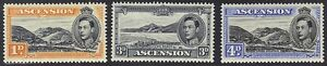 ASCENSION 1938 KING GEORGE V PERF 13 1/2 S.G. 39a, 42a, 42c, LIGHT HINGED