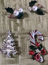 Lot Rhinestone Christmas Tree Brooch Pin Poinsettia Candy cane Holly berry