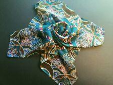 Vintage Oscar de la Renta Silk Scarf - Teal/Blue Paisley Design - Designer Small