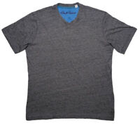 ROBERT GRAHAM Short Sleeve V-Neck T-Shirt Heather Gray Large L