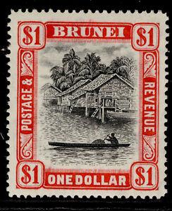 BRUNEI GVI SG90, $1 black & scarlet, M MINT. Cat £19.