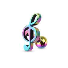 Titanium Steel Treble Clef Music Note Ball Ear Stud Music Symbol Earrings 2pcs