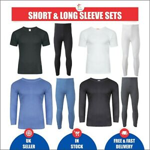 Mens Thermal Long Johns Short Full Sleeve T-Shirt Set Brushed Thermal Underwear