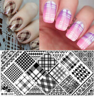 BORN PRETTY Nail Stamping Plates Manicure Nail Art Stamp Image Checked Templates