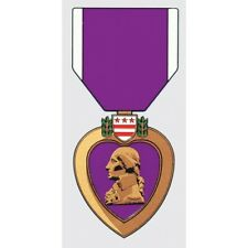 PURPLE HEART COMBAT WOUNDED MEDAL STICKER - DECAL - MADE IN THE USA!!
