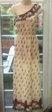 BNWT - RED HERRING CREAM & FLORAL CHIFFON ONE SHOULDER ANKLE LGTH DRESS - SIZE 8