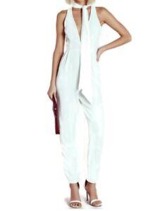 Missguided Jumpsuit Plunge Front White Tie  Neck Sleeveless Straight Leg UK 14