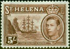 St Helena 1938 5s Chocolate SG139 Fine Mtd Mint