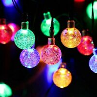 30 LED Solar Outdoor Lights Powered Garden Party Fairy String Crystal Ball Light