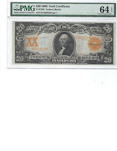 1906 $20 Gold Certificate FR1186 PMG 64 CH UNC EPQ And Color!!!! Teehee/Burke!!!