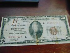 1929 $20 National Currency Bank of America San Francisco FINE L@@K