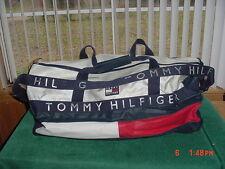 TOMMY HILFIGER Big DUFFLE GYM BAG VINTAGE HUGE Logo Red White Blue Spell Out