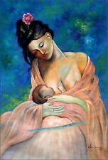 Stretched, Breast Feeding, Hand Painted Oil Painting, 24x36in
