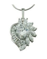 Beautiful Floral Austrian Crystal Rhodium Plated Cluster Style Pendant