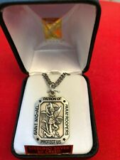 """""""ST. MICHAEL STERLING SILVER  PARATROOPER MEDAL 24"""" Chain By CREED NEW-SS9944"""