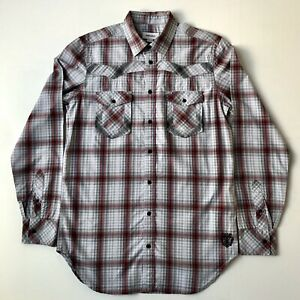 Men's Diesel Jeans Checked Western Cotton Long Sleeve Shirt Grey/Red Fitted Med