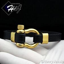 """8""""MEN WOMEN Stainless Steel 10mm Black/Gold Horseshoe Design Leather Bracelet*84"""