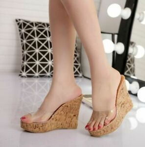 Womens Summer Open Toe High Wedge Heels Slippers Shoes Clear Platform Sandals Sz
