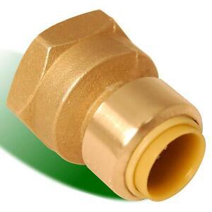 "ProLine Brass Push-Fit 3/4"" Female Adapter. 3/4"" PF x 3/4"" FIP."