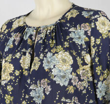 H&M Women's Sz 2 Blue Brown Pink White Floral Long Sleeve Round Neck Top Blouse