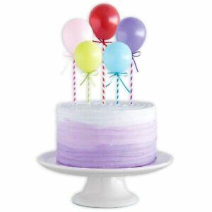 5 bunte Miniballons f. Tortendeko, 5 Luftballons mit Stab für Geburtstagstorte