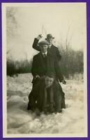 E06 1930's Suited Men Goofing Around In The Snow Ball In Hand Photo Snapshot