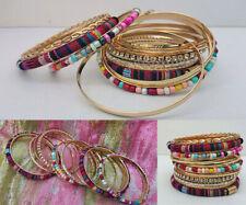 Luxury Handmade Ethnic Tibetan Woven/Beads/Diamante Bangles Boho Festival 12pc